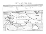 The War with New Jersey. Blueprints for an invasion. - New Yorker Cartoon Impresso gicle premium por Saul Steinberg