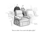 """You see a chair. I see a seat in the skybox of life."" - New Yorker Cartoon Premium Giclee Print by Julia Suits"