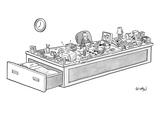 A sad man has his whole life before him on his desk at work. - New Yorker Cartoon Premium Giclee Print by Robert Leighton