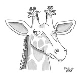 A giraffe has giraffes on its head. - New Yorker Cartoon Premium Giclee Print by Farley Katz