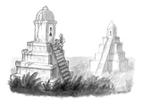 Explorer discovers gender labeled ancient pyramid restrooms. - New Yorker Cartoon Premium Giclee Print by Jason Patterson