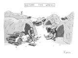 Bored cavemen sitting around next to cars without wheels. - New Yorker Cartoon Premium Giclee Print by Zachary Kanin