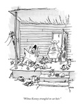 """Wilma Kooney strangled on cat hair."" - New Yorker Cartoon Regular Giclee Print by George Booth"