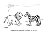 """I give up. What's black and white and red all over"" - New Yorker Cartoon Premium Giclee Print by Robert Leighton"