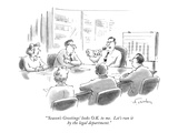 """'Season's Greetings' looks O.K. to me. Let's  run it by the legal departm…"" - New Yorker Cartoon Premium Giclee Print by Mike Twohy"