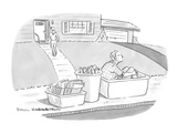 Wife takes out recycling bins one of which contains her husband. - New Yorker Cartoon Premium Giclee Print by Paul Karasik
