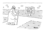 Traveler at a fork in the road, ponders a sign that reads, 'The Meaning of… - New Yorker Cartoon Premium Giclee Print by Jack Ziegler