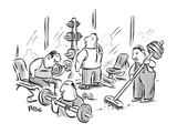 A janitor in a weight room has weights on the end of his broom. - New Yorker Cartoon Giclee Print by Rina Piccolo