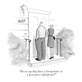 """Do we say they have a 'lovely home' or a 'great piece of property'"" - New Yorker Cartoon Giclee Print by Julia Suits"