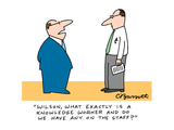 """Wilson, what exactly is a knowledge worker and do we have any on the staf…"" - Cartoon Regular Giclee Print by Charles Barsotti"