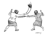 Two women in fencing masks dueling with an umbrella and a purse. - New Yorker Cartoon Giclee Print by Rob Esmay