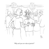 """Why can't you ever relax at parties"" - New Yorker Cartoon Premium Giclee Print by Paul Noth"