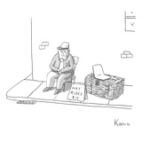 A country fellow sells hay rides for $10. He has a hay barrel with a seat … - New Yorker Cartoon Premium Giclee Print by Zachary Kanin