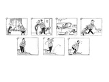 Man eats breakfast, kisses wife good-bye, drives car, walks out to golf co… - New Yorker Cartoon Premium Giclee Print by Claude Smith