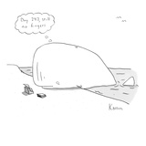 Whale writer - New Yorker Cartoon Premium Giclee Print by Zachary Kanin