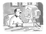Man at a computer with a sign that reads, 'This P.C. Has Been Porn Free fo… - New Yorker Cartoon Premium Giclee Print by C. Covert Darbyshire