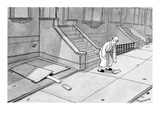 Hand comes out of basement to get morning paper. - New Yorker Cartoon Premium Giclee Print by Jason Patterson