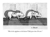 """Was it the capybara or the beaver Take your time. Be sure."" - New Yorker Cartoon Premium Giclee Print by Arthur Geisert"