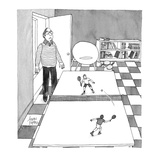 Tiny tennis players on ping pong table. - Cartoon Regular Giclee Print by Joseph Farris