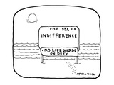 THE SEA OF INDIFFERENCE-NO LIFEGUARDS ON DUTY - New Yorker Cartoon Regular Giclee Print by Richard McCallister