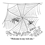 """Welcome to my web site."" - Cartoon Regular Giclee Print by Aaron Bacall"