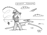 "Title ""Skeet Fishing"". A fisher casts at a clay fish flying through the ai… - New Yorker Cartoon Premium Giclee Print by Farley Katz"