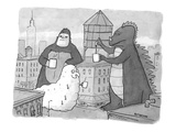 Godzilla, King Kong, and a giant worm gather around a water tower that is … - New Yorker Cartoon Premium Giclee Print by Jason Patterson