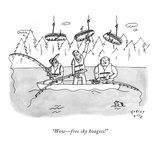 """Wow—free sky hoagies!"" - New Yorker Cartoon Premium Giclee Print by Farley Katz"