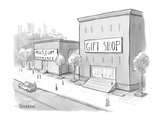 """Museum of Commerce"" next to a ""Gift Shop"" building that is twice as large… - New Yorker Cartoon Premium Giclee Print by Jason Patterson"