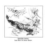 CROSSED PATHS-Icarus Meets the Ancient Mariner - New Yorker Cartoon Premium Giclee Print by Ronald Searle