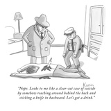"""Nope. Looks to me like a clear-cut case of suicide by somehow reaching ar…"" - New Yorker Cartoon Giclee Print by Zachary Kanin"