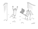 A person runs into the gates of heaven; an angel is waving a checkered fla… - New Yorker Cartoon Premium Giclee Print by Kim Warp