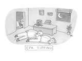 """CPA-Tipping"" Two CPAs lie on floor of office as the culprits snicker befo… - New Yorker Cartoon Premium Giclee Print by Michael Rae-Grant"