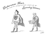 """Underwear Man and his disgruntled sidekick Laundry Woman"" - New Yorker Cartoon Premium Giclee Print by Kim Warp"