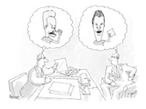 Two business men sitting across a desk.  One thinking the other is Beavis … - Cartoon Regular Giclee Print by Jack Ziegler