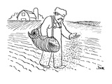 farmer sowing seed by hand from over-shoulder cornucopia - Cartoon Premium Giclee Print by John Jonik