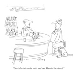 """One Martini on the rocks and one Martini in a bowl."" - New Yorker Cartoon Premium Giclee Print by Dean Vietor"