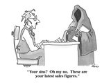 """Your sins  Oh my no.  These are your latest sales figures."" - Cartoon Regular Giclee Print by J.P. Rini"