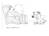 Dog holding paper, smoking pipe, wearing slippers. - Cartoon Regular Giclee Print by Bernard Schoenbaum