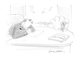 Businessman sitting at desk blowing smoke at picture of wife. - Cartoon Regular Giclee Print by Bernard Schoenbaum