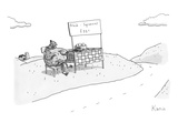 "A chicken sits next to a roadside stand with a bowl of eggs. The stand has…"" - New Yorker Cartoon Premium Giclee Print by Zachary Kanin"