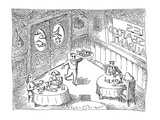 Restaurant scene:  Waiter carrying tray of fish; behind kitchen doors are … - Cartoon Regular Giclee Print by John O'brien