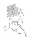 Bust of man. The top of his head is a maze. - New Yorker Cartoon Impresso gicle premium por Saul Steinberg
