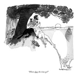 """Where does the time go"" - New Yorker Cartoon Premium Giclee Print by Rowland Wilson"