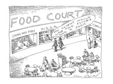 Food Court - Cartoon Regular Giclee Print by John O'brien