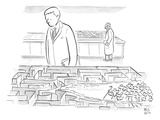 A laboratory scientist looks on as the walls of a small maze are divided b… - New Yorker Cartoon Premium Giclee Print by Paul Noth