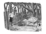 Golfer looking for his golf ball in the woods comes across gnomes running … - New Yorker Cartoon Premium Giclee Print by Robert J. Day