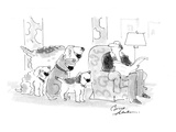 Four dogs overwhelm a relaxed man. All want to play fetch. - Cartoon Regular Giclee Print by Bernard Schoenbaum