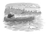 canoeist passes duck whose head is shaped like fingers—fingers held in suc… - Cartoon Regular Giclee Print by John Jonik