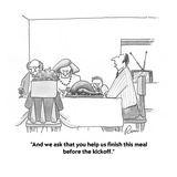 """""""And we ask that you help us finish this meal before the kickoff."""" - Cartoon Regular Giclee Print by J.P. Rini"""